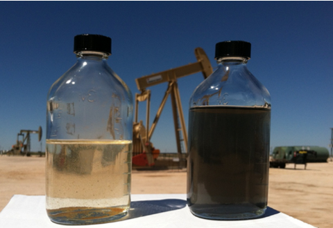 This image shows a bottle (right) with emulsion created by iron sulfide and hydrogen sulfide, along with another showing the treatment impact of chlorine dioxide.